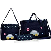 Foolzy Shoulder Diaper Durable Nappy Mummy Moth Tote Baby Set of 4 Pieces (Blue)