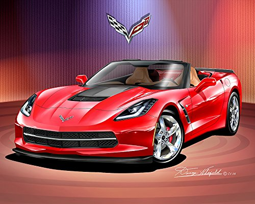 2014 - 2015 CORVETTE CONVERTIBLE - TORCH RED - ATLANTIC EDITION - ART PRINT POSTER BY ARTIST DANNY WHITFIELD - SIZE 24 X 36