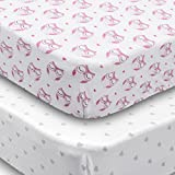 Crib Sheets, 2 Pack Fitted Soft Jersey Cotton Sheet, Bedding with Pink Owls and Grey Hearts Custom Design, Fits Standard Mattress for Babies and Toddlers