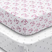 Crib Sheets, 2 Pack Pink Owls & Hearts Fitted Soft Jersey Cotton Girl Bedding