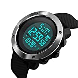(US) Men's Digital Sport Watch Led Electronic Military Wrist Watch with Alarm Stopwatch Dual Time Zone Count Down EL Backlight Calendar Date Window -Black