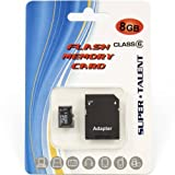 SUPER TALENT 8GB Micro SDHC Memory Card w Adapter / MSD8GBST6R(SZ) /