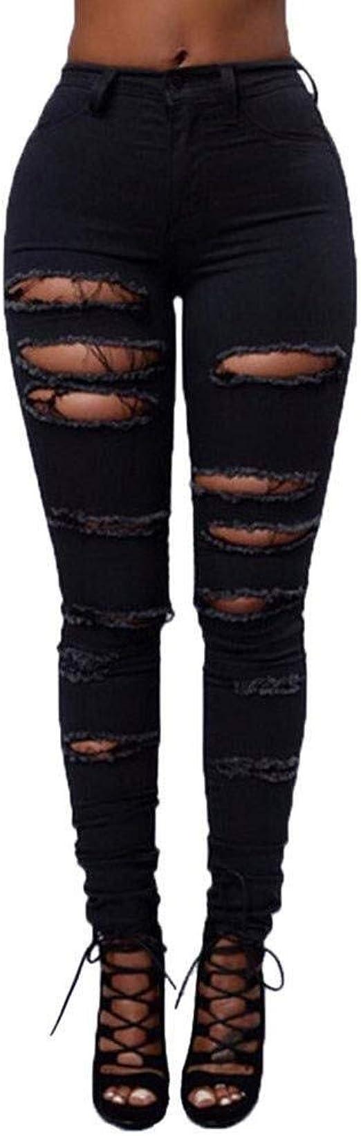 HX fashion 穴のある女性のジーンズパンツ破れたスキニーデニムパンツハイウエストスリムストレッチストレートパンツスリムフィットストレッチスタイリッシュなボーイフレンドジーンズの穴