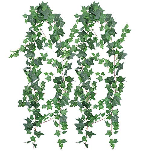XiaZ 5.9' Artificial Ivy Leaves Greenery Garlands, 2 Pack Fake Ivy Leaf Plant Garland Wedding Backdrops Garland in Green for Tables Chairs Wedding Arches Spring Backyard ()