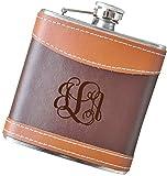 6 oz Script Monogram Flask, Genuine 2-Tone Leather Flask - F40.FSK128