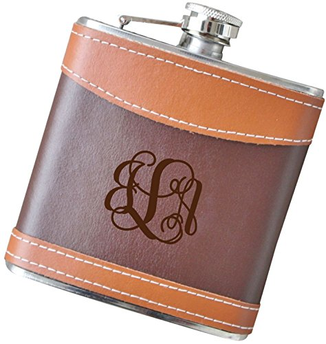 6 oz Script Monogram Flask, Genuine 2-Tone Leather Flask - F40.FSK128 by Frederick Engraving