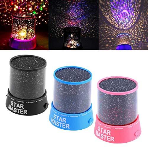 Didade LED Night Light Star Baby Kids Sleep USB Projector Rotation Colorful Light Lamp (Pink)