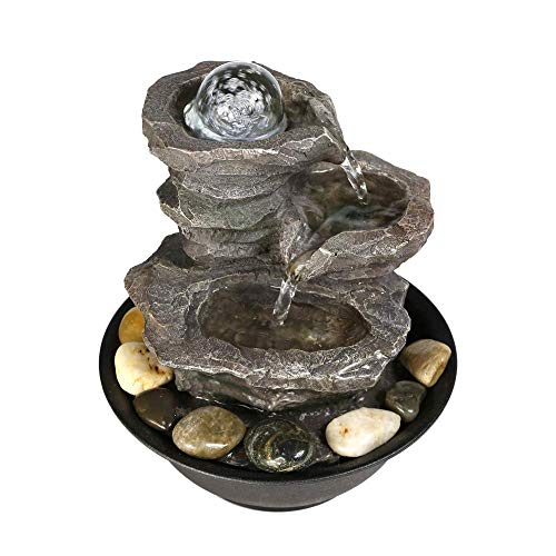 """Dyna-Living 4-Tier Cascading Resin-Rock Falls Tabletop Water Fountain - 11 2/5"""" Small Relaxation Waterfall Feature with LED Lights&Ball, Indoor Oudoor Decorative Tabletop Fountain for Stress Relief"""