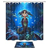 Fish Tales Shower Curtain Mermaid Shower Curtain Set, Mystic Underwater World With Fairy Tales Of Marine Animal Girls Coral Fish Bath Rugs, 69X70in Fabric Shower Curtains for Bathroom with 15.7x23.6in Flannel Non-Slip Doormat