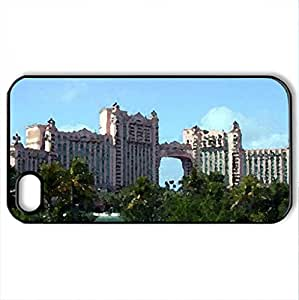 Atlantis-Paradise Island - Case Cover for iPhone 4 and 4s (Modern Series, Watercolor style, Black)