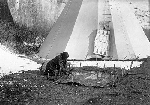 Crow Hide Scraping C1908 Na Crow Native American Woman Scraping An Animal Hide Outside A Tepee Photograph By Edward Curtis C1908 Poster Print by (18 x 24)