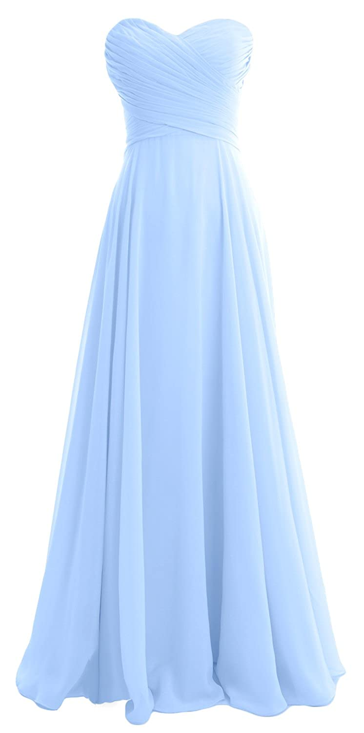 MACloth Women Strapless Chiffon Long Wedding Party Bridesmaid Dress BD Gown