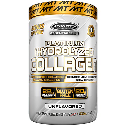 MuscleTech Platinum 100 Hydrolyzed Collagen, Collagen Peptides, Unflavored, 1.5 Pounds
