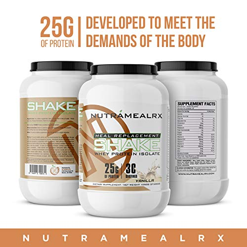 NutramealRX- Whey Isolate Protein for Men and Women, Meal Replacement Shake, High Quality Protein, Easy Mixability, Gain Weight, Tone Up, Improve Strength, Delicious Taste, Vanilla Flavor
