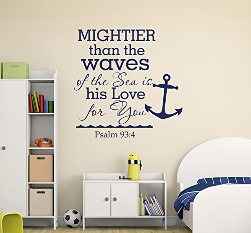 Cheap  Mightier Than The Waves Of The Sea Psalm 93:4 Quote Wall Decal..
