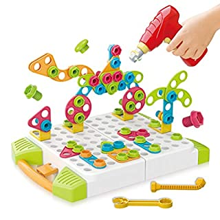 STEM Learning Toys 215 Pieces Set, DIY 4in1 Nuts and Bolts Blocks Kids Educational Design Board 3D Puzzle Toy Kit with Electric Toy Drill for Boys and Girls Ages 3+ (215PCS)