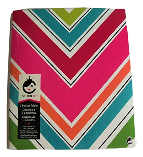 Studio C Carolina Pad Tri-fold 3-Pocket Folder ~ Sugarland (Colorful Chevrons) ()