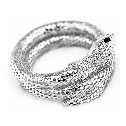Sinfu Bracelet - Unisex Electroplated Diamond-Studded Snake Chain Fashion Cuff Bangle Bracelet (Silver)