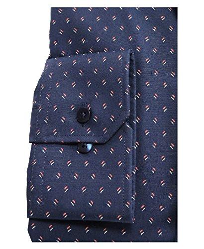 Eterna Modern Fit Businesshemd Langarm in dunkelblau mit Druckdessin bügelfrei