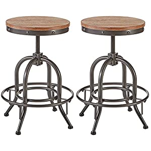 Pioneer Square Dane Metal-and-Wood Counter-Height Swivel Bar Stool, Set of 2 - Black