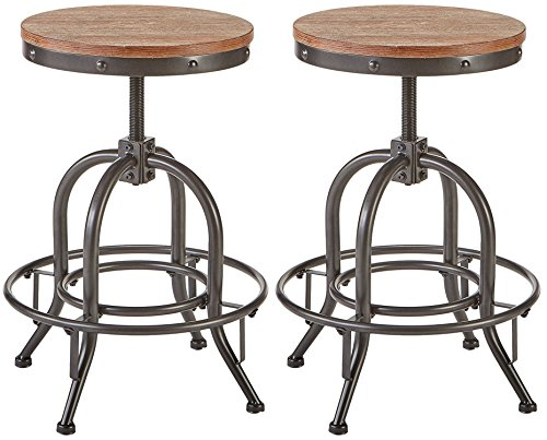 Ashley Furniture Signature Design - Pinnadel Swivel Bar Stool - Counter Height - Set of 2 - Light Brown (Wooden Stools Antique)