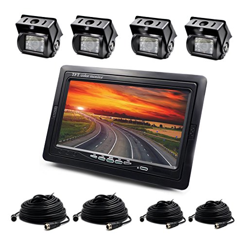 Backup Camera Wired 7Inch LCD Monitor and 4xWaterproof Re...