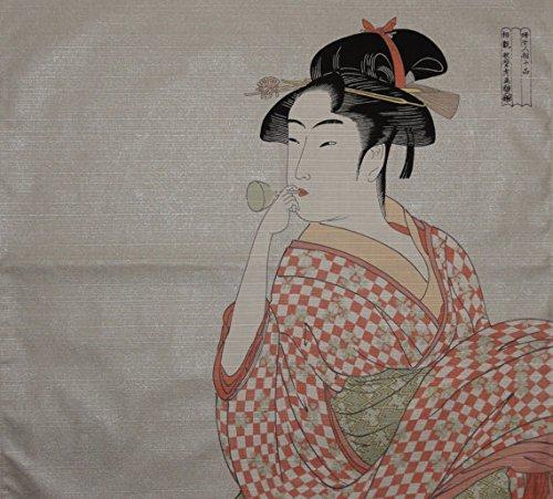 Furoshiki 'Young Woman Blowing a Glass Pipe' by Utamaro Motif Japanese Fabric -