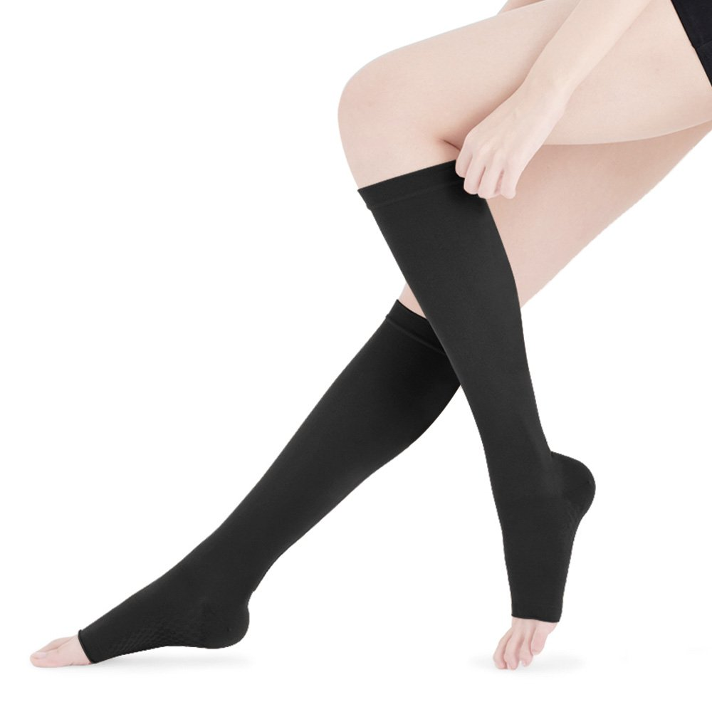 70d5e20d20 Fytto 2020 Women's Compression Socks, 15-20mmHg Open Toe Support Hosiery -  Microfiber Stocking for Travel, Varicose Veins & Pregnancy, Slip-Resistant