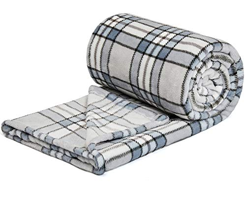 "NEWCOSPLAY Super Soft Throw Blanket Premium Flannel Fleece Plaid Pattern Checkered Throw for Sofa Bed Warm Lightweight Blanket Wrinkle-Resistant and Breathable (Plaid Grey, Throw(50""x70""))"
