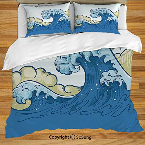 Japanese Wave Queen Size Bedding Duvet Cover Set,Cartoon Style Big Wave Ocean Aquatic Artistic Curves Splash Storm Decorative 3 Piece Bedding Set with 2 Pillow Shams,Khaki Blue Light Blue