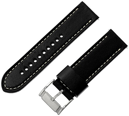 Fossil Leather Strap - Fossil S241076 24mm Leather Calfskin Black Watch Strap