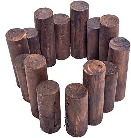 LIXIONG Jardín Vallas De Madera Al Aire Libre Enclavamiento Paneles Cilindro Planta Empalizadas Animal Barrera Patio Calzadas Fuente Decoración, Tamaño 9 (Color : Brown, Size : 90x20/25cm): Amazon.es: Hogar