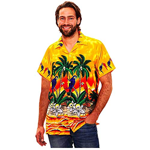 Mens Hawaiian Shirt Stag Beach Hawaiian Print Party Summer Holiday Fancy Blouse Yellow]()