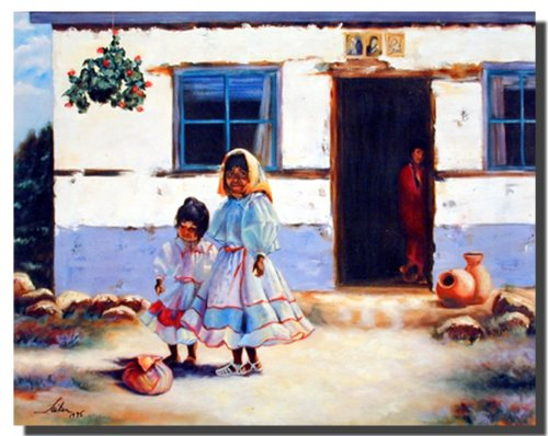 Old Mexican Lady with Children Wall Decor Art Print Poster