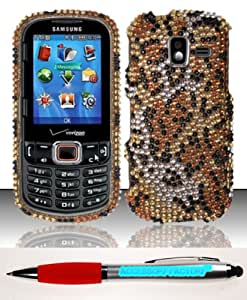Accessory Factory(TM) Bundle (the item, 2in1 Stylus Point Pen) For Samsung Intensity 3 U485 (Verizon) Full Diamond Case Cover Protector - Cheetah FPD Stylish Bling Design Snap On Hard Faceplate Shell