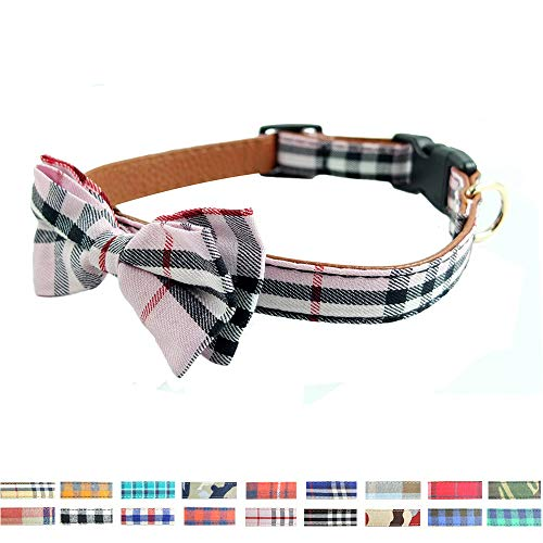 (Dog Collar Bow Tie - Adorable Plaid Sturdy Soft Cotton&Leather Dog Collars for Small Medium Large Dogs Breed Pup Adjustable 18 Colors and 3 Sizes (Pink Plaid 2, S 10