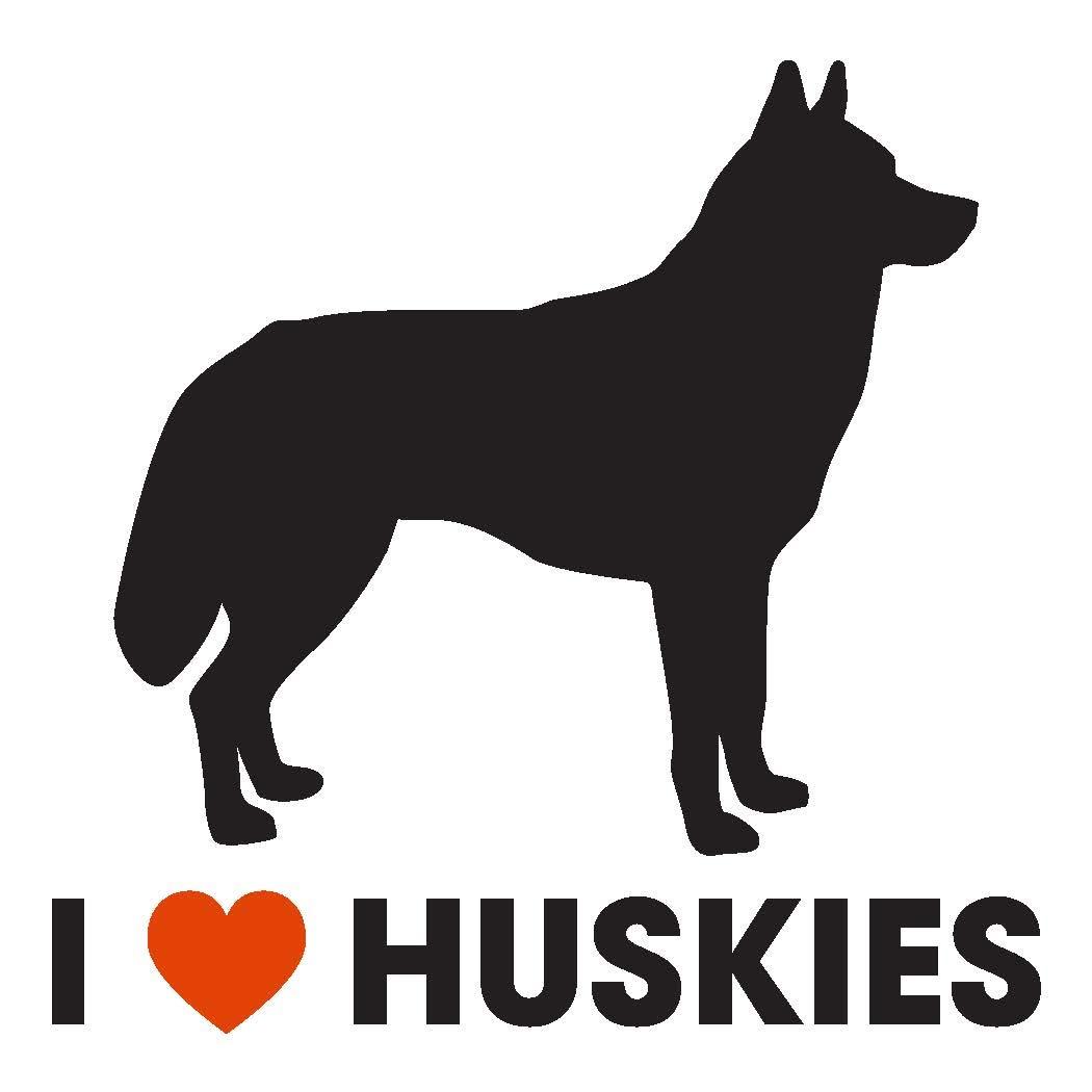 I Love Siberian Huskies Vinyl Car Sticker Decal