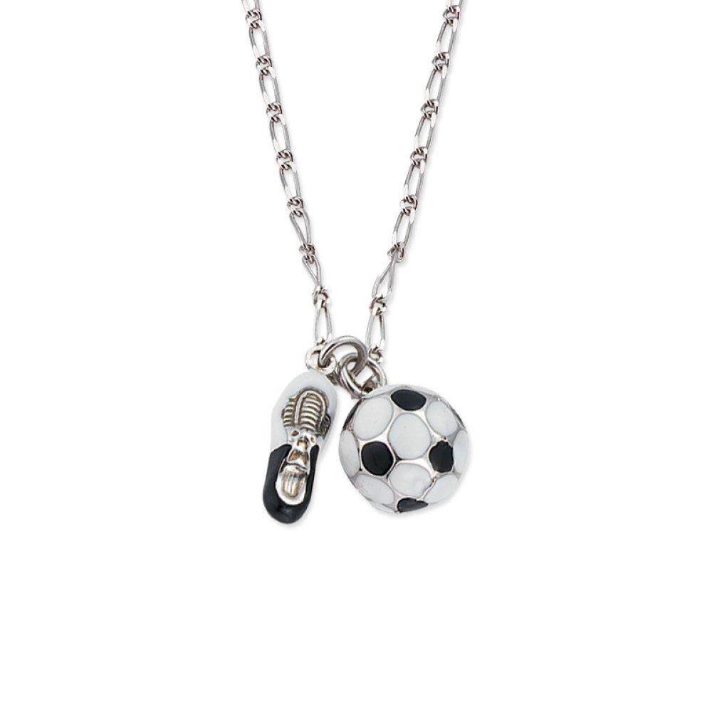 Scout Kinderschmuck, Collier 925 Sterling Silber, 35-39cm, Fußball und Schuh handemailliert 261034200