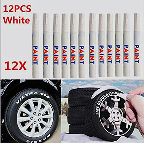 Dealetech 10+2 Universal Waterproof Permanent Paint Marker Pen Car Tyre Tire Tread Rubber …(12pcs) by Dealetech