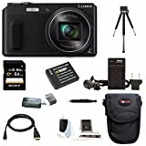 Panasonic DMC-ZS45 DMC-ZS45K ZS45 LUMIX 20X Zoom Camera with Wink-Activated Selfie Feature (Black) + Sony 64GB SDXC Class 10 UHS-1 Memory Card + Card Reader + Wasabi DMW-BCM13 Replacement Battery + Battery Charger + Case + Table Tripod + Deluxe Access