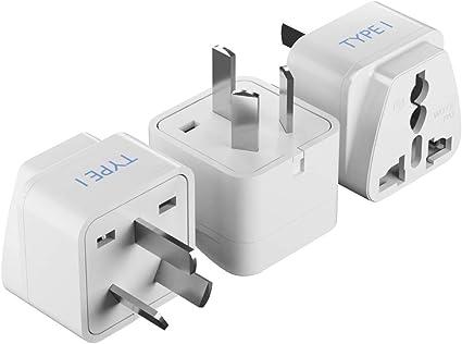 Ceptics USA to Australia Type I New Zealand China Travel Adapter Plug 3 Pk