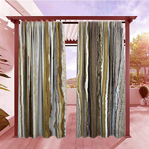 - Outdoor Rod Pocket Curtains Apartment Decor Onyx Marble Rock Themed Vertical Lines and Blurry Stripes in Earth Color Outdoor Privacy Porch Curtains W120x84L Mustard Brown