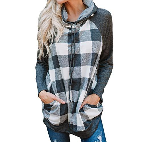 AOJIAN Blouse Women Long Sleeve T Shirt Cowl Neck Hooded Pocket Plaid Print Tunic Tank Shirts Tops Black