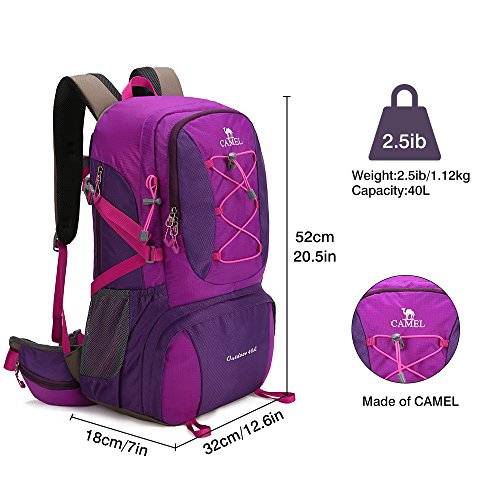 0935b222632 Camel 40L Lightweight Durable Outdoor Backpack Hiking Backpack Camping  Backpack Sport Backpack (Purple)