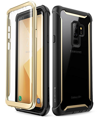 Samsung Galaxy S9+ Plus case, i-Blason [Ares] Full-body Rugged Clear Bumper Case with Built-in Screen Protector for Samsung Galaxy S9+ Plus 2018 Release (Gold)