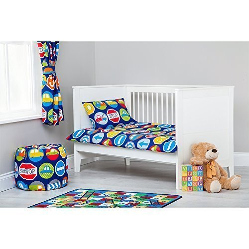 Road Signs Design Children's Cot Bed Junior Toddler Size Duvet Cover Set 120cm x 150cm with Pillowcase Ready Steady Bed