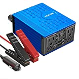 VOLTCUBE AP0801 Power Inverter 12V DC to 110V AC Converter with 4.8A Dual USB Car Adapter with 2 Independent AC outlets, 400 W