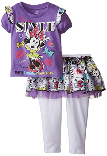 Disney Baby Girls' Minnie Mouse World Traveler Skegging Set with Tutu Skirt, Purple, 24 Months (Tutu Minnie Mouse)