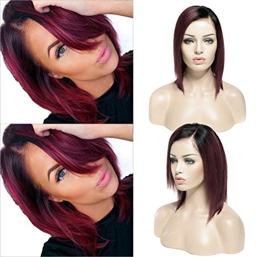 Ombre Red Bob Wigs Human Hair Lace Front Wig for Black Women 10 inches Natural Black Root to Wine Red 130% Density Side Parting Short Remy with Baby Hair Silky Straight (#1B/99J)
