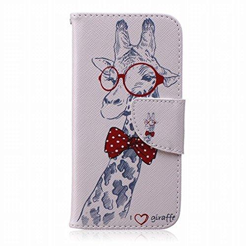 LEMORRY iphone 6 6S Flip Etui Housse, [Double Imprimé] Mignon Giraffe Durable Soft TPU Coque + PU Cuir Portefeuille Cards Stand Magnétique Sangle Flexible Skin Protecteur